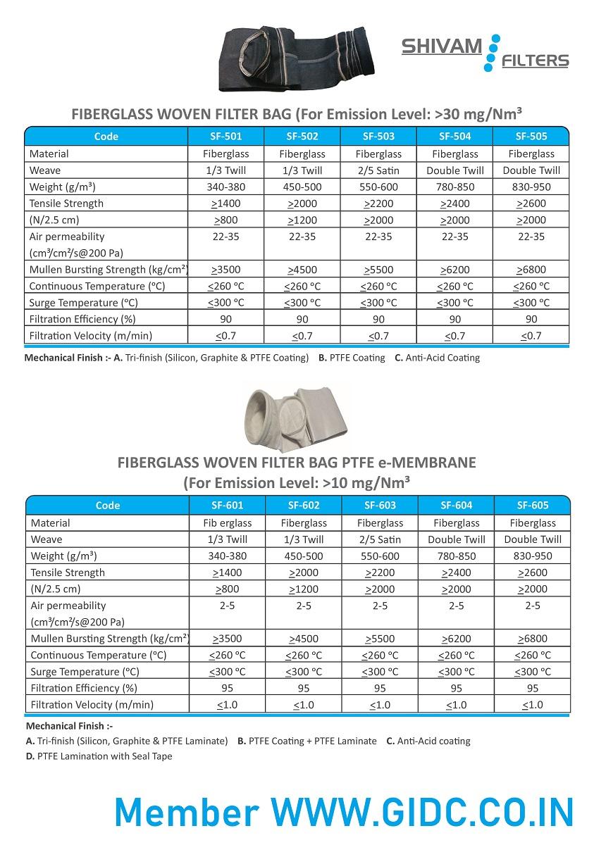 SHIVAM FILTERS - 9545856555 FIBERGLASS WOVEN Filter Bag GIDC