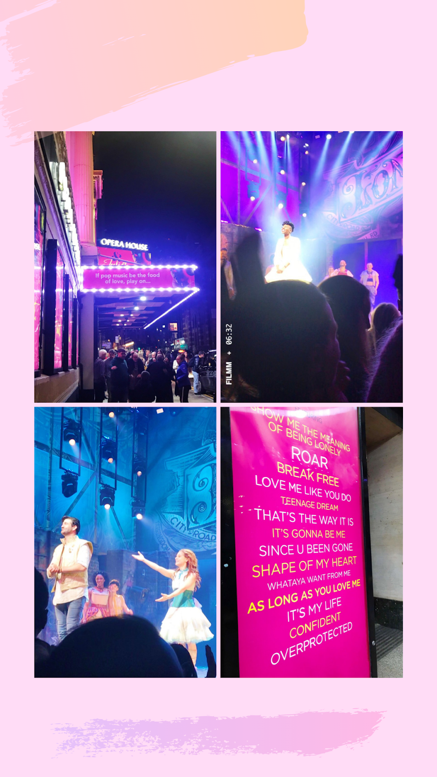collage - outside of Manchester Opera House, Miriam Teak Lee at the bows, Oliver Tompsett & Cassidy Janson at the bows and song list