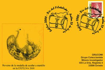Tarjeta del matasellos del Día del Filatelista de la EXFILNA 2000