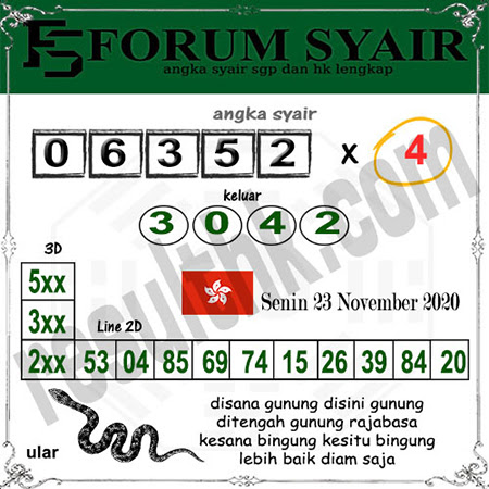 Forum Syair HK Senin 23 November 2020