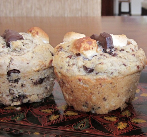 Food Lust People Love: Graham crackers, chocolate chips and mini marshmallows baked up in a sweet muffin. What else could I call them but S'mores Muffins!