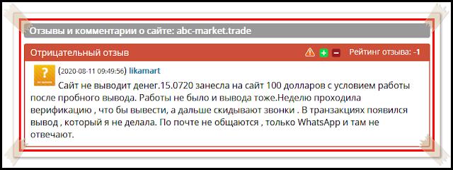 Отзывы и комментарии о сайте: abc-market.trade