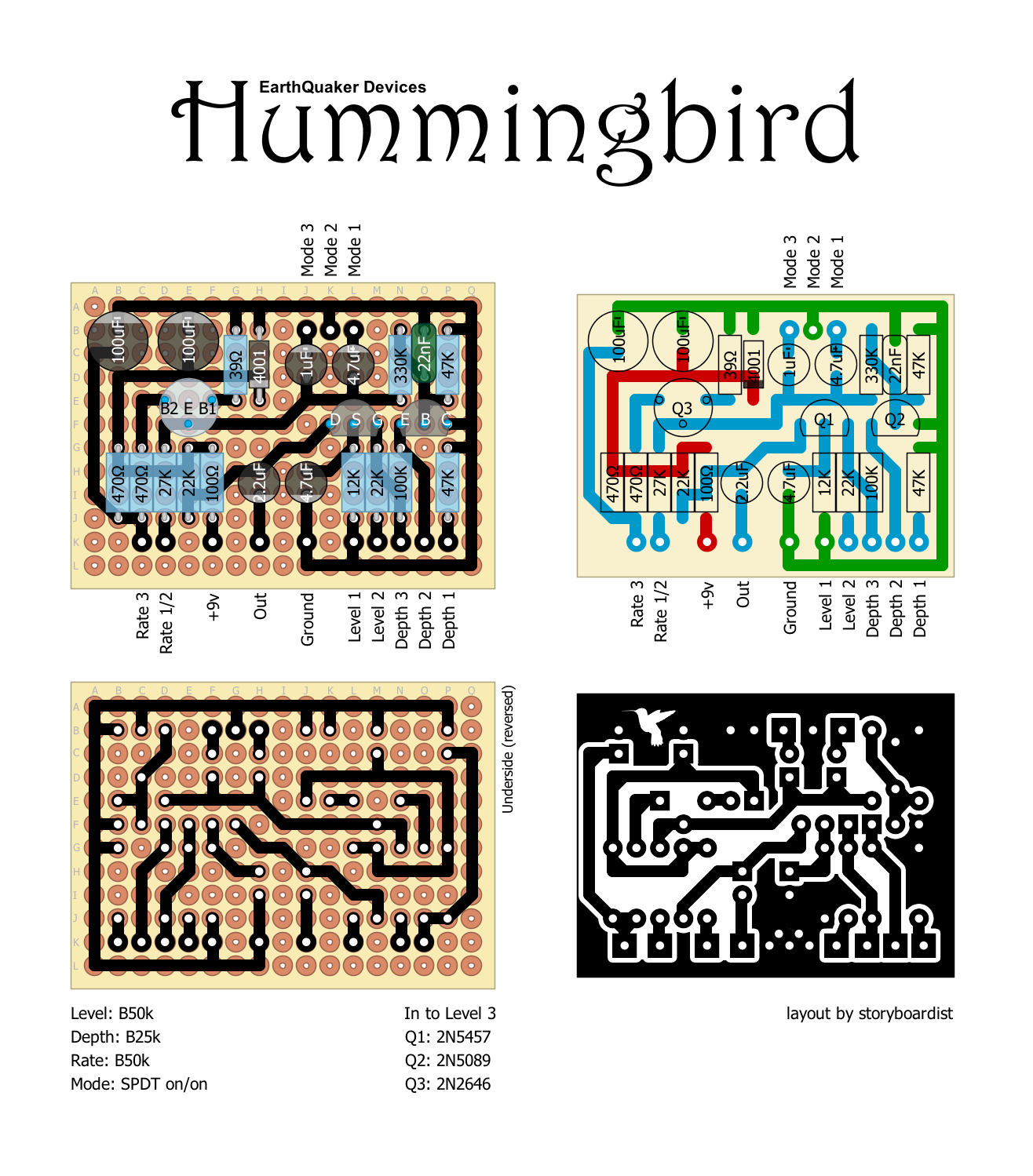 schematic for this one and ended up just tracing the vero layout from the tagboard effects blog so here you go internet the schem for the hummingbird  [ 1316 x 1499 Pixel ]