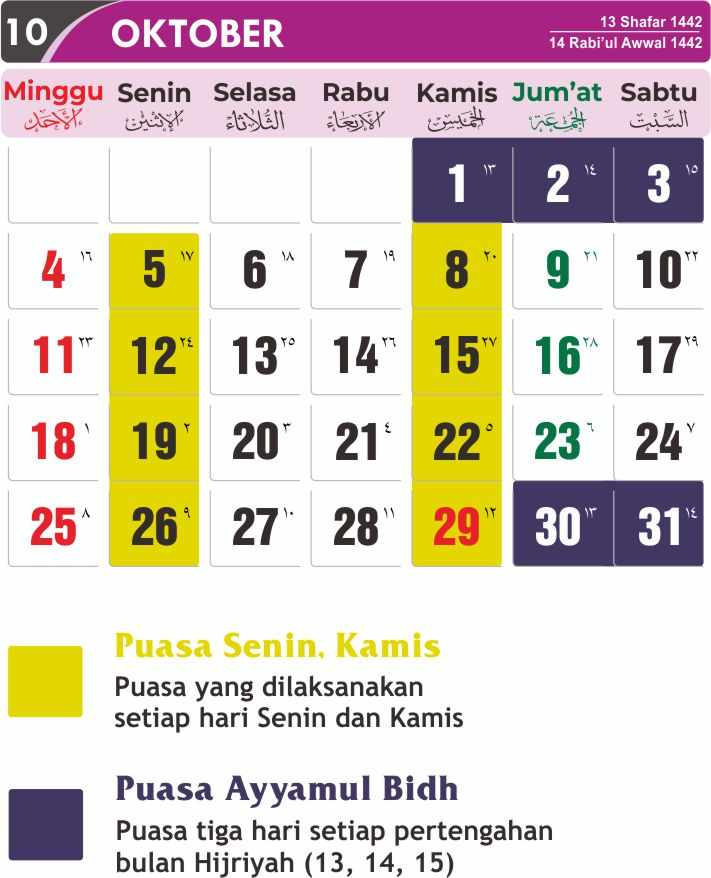 Download Kalender Jadwal Puasa Sunnah 2020 PDF, CDR, PSD ...