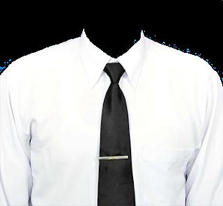 Preview template kemeja putih transparan dasi hitam