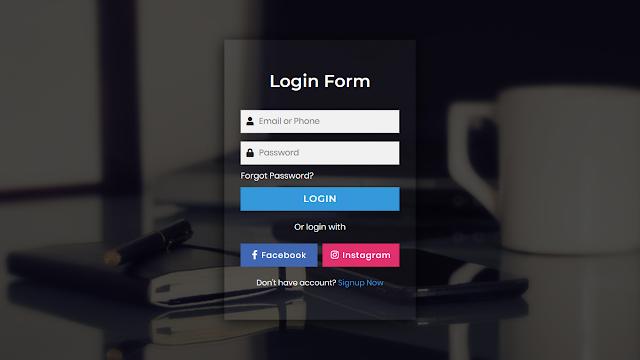 Amazing Transaprent Login Form using HTML CSS and Javascript
