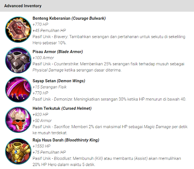 Item Pertahanan (Defense) Mobile Legends