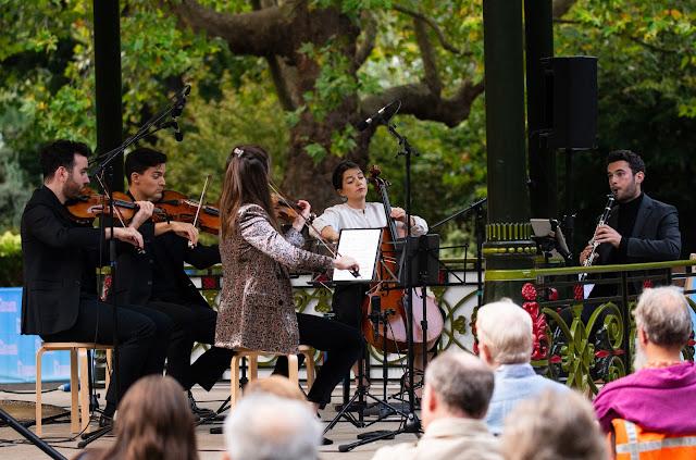 Brahms: Clarinet Quintet - Solem Quartet, Anthony Friend - Bandstand Chamber Festival at Battersea Park (Photo William Marsey)