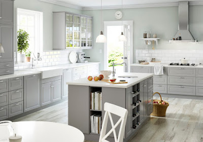 IKEA timeless kitchen style ideas with beautiful white countertops and the grey color scheme