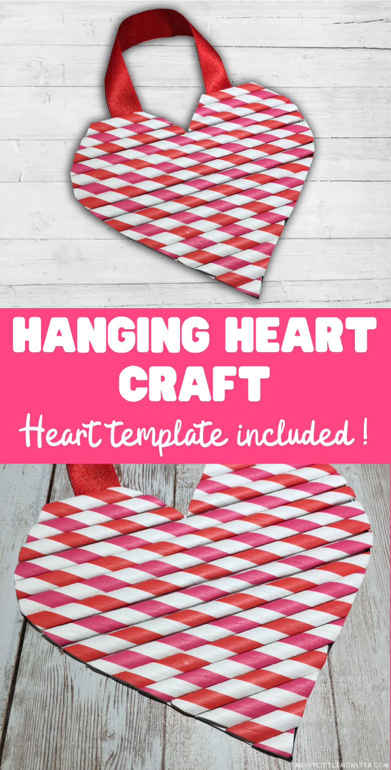 Hanging heart craft for kids. Printable heart template for kids.