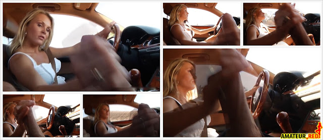 blonde slut beating his dick in the car