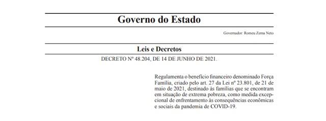 Governo de Minas regulamenta auxílio para população em extrema pobreza