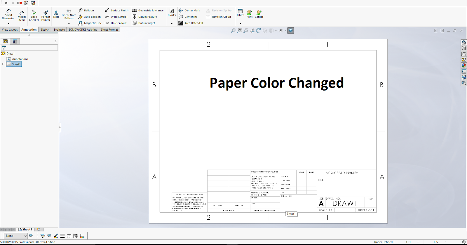 Design tech academy by following above steps you can easily change the color of paper sheet used in solidworks drawings video tutorial baditri Image collections