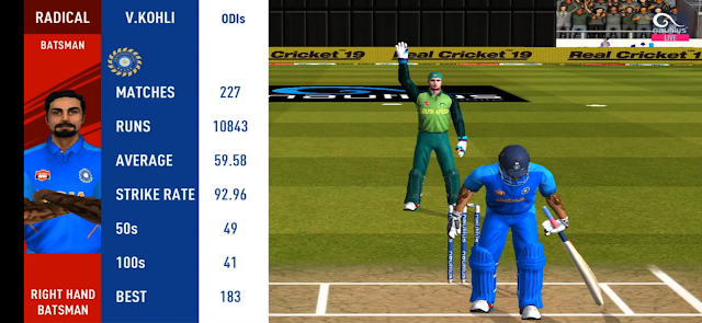 Real Cricket 19 Real Player Statistics