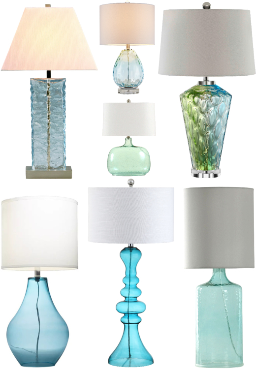 Blue Coastal Glass Table Lamps