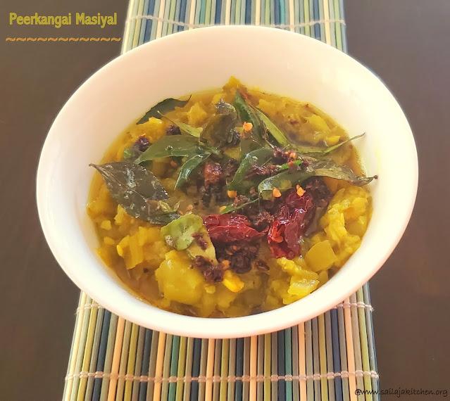 images of Peerkangai Masiyal / Peerkangai Kadayal / Ridge Gourd Masiyal / Peerkangai Kadayal Without Dal