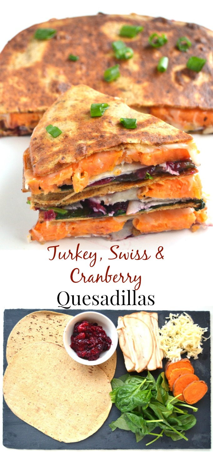 Turkey, Swiss and Cranberry Quesadillas take 10 minutes to make and are full of your favorite Thanksgiving flavors without all the work! www.nutritionistreviews.com