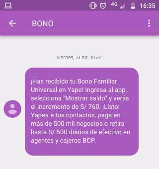COBRAR BONO FAMILIAR UNIVERSAL CON YAPE