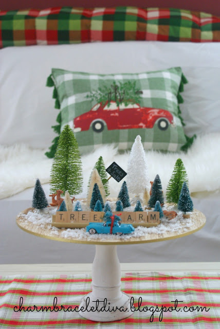 cake stand wooden charger vintage Christmas Tree Farm