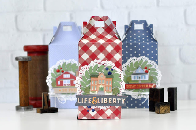"Treat boxes featuring the ""Americana"" paper pad from Park Lane by JoAnn. Boxes are designed by Jen Gallacher for www.jengallacher.com #treatboxes #handmadewithjoann #papercraft"