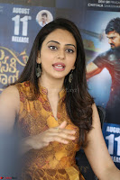 Rakul Preet Singh smiling Beautyin Brown Deep neck Sleeveless Gown at her interview 2.8.17 ~  Exclusive Celebrities Galleries 076.JPG