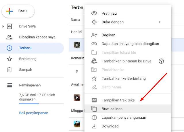 Membuat salinan pada google drive