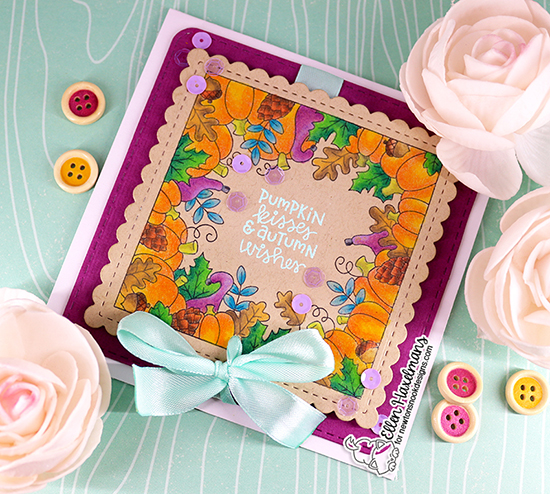 Pumpkin Kisses Card by Ellen Haxelmans | Fall Fringe Stamp Set and Frames Squared Die Set by Newton's Nook Designs #newtonsnook #handmade