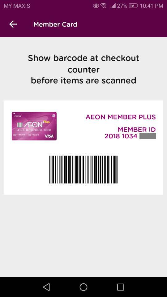 AEON Wallet: Show Member Card