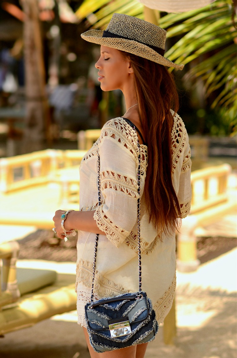 White crochet, Denim Michael Kors bag, Bali Indonesia, Sanur Beach, Boho style, TC Style Clues,