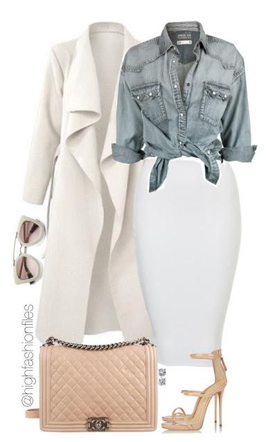 kemeja longgar denim, coat putih, rok putih