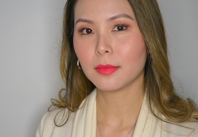 makeup selfie wearing the face shop rouge powder matte lipstick in the shade berry powder