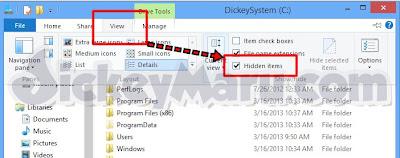 Hidden Items Windows 8