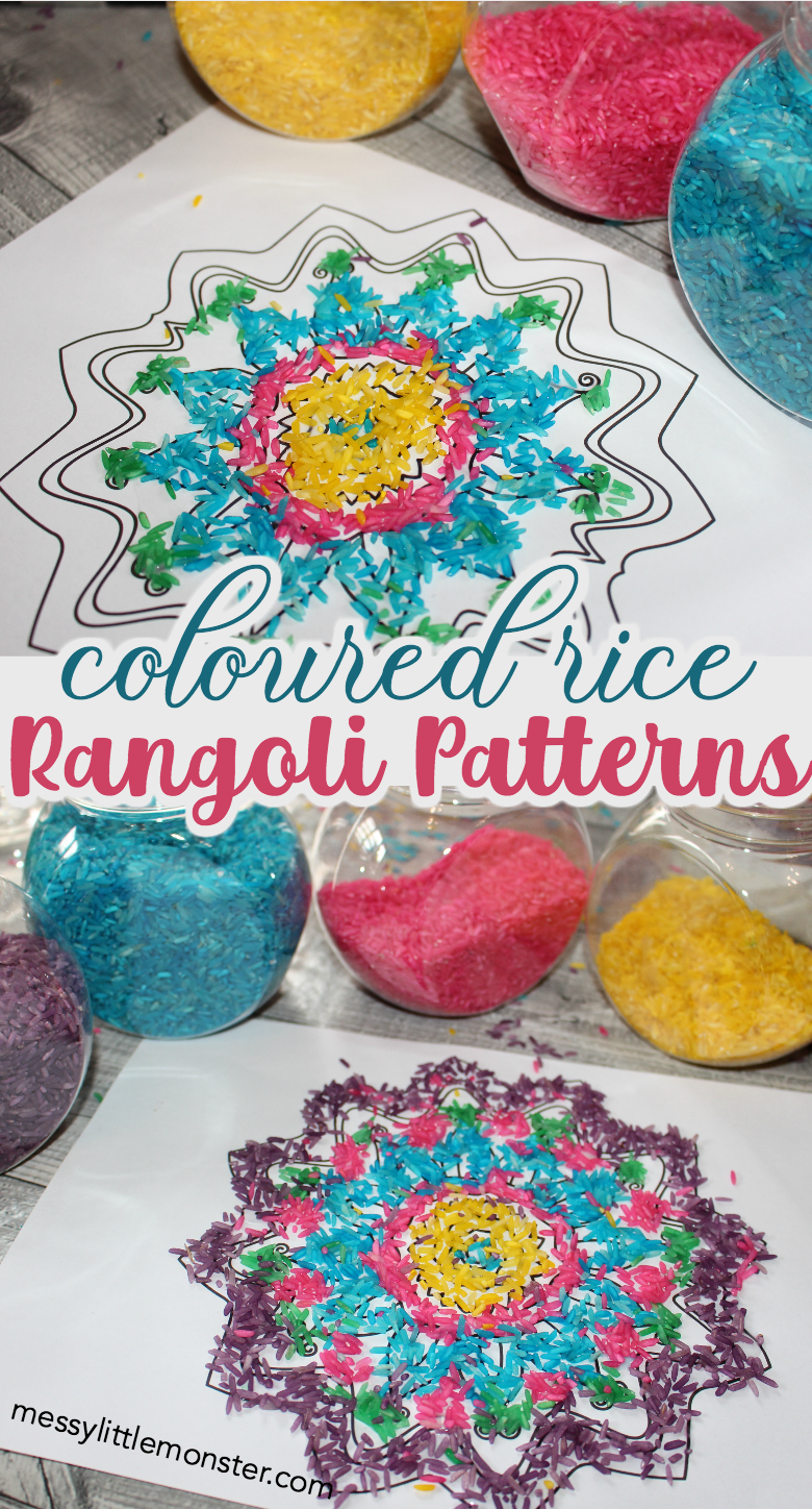 How to make a rangoli pattern with coloured rice. Diwali craft for kids, toddlers and preschoolers.