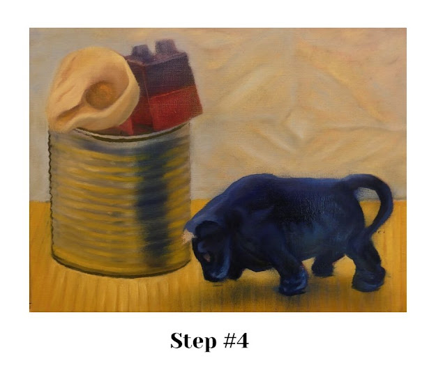 STEP #4: Defining the bull's colors & cardboard texture.