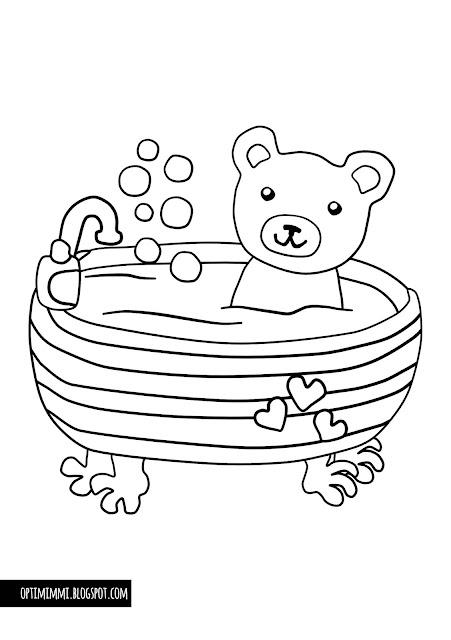 A coloring page of a bathing teddy / Värityskuva kylpevästä nallesta