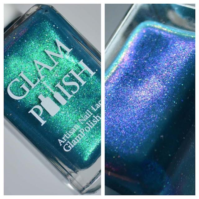 blue shimmer nail polish bottle