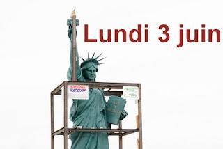 Installation de la Statue de la Liberté