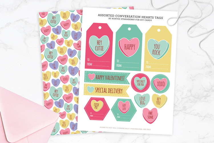 candy heart tags and wrap at DIY Candy