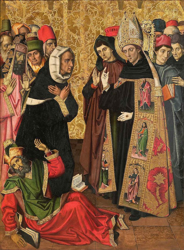 Santo Agostinho, bispo de Hipona na África, joga por terra as heresias. Paul Vergós (atribuído, c.1470 o 1475-1486),  Museo Nacional de Arte de Cataluña, Barcelona
