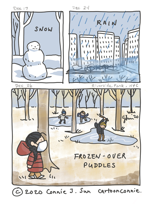 Comic illustration page drawn from scenes in Riverside Park, New York. Drawing of a snowman, torrential rain over cityscape, a walk in the park with kids playing on frozen puddles. Cartoon by Connie Sun, cartoonconnie