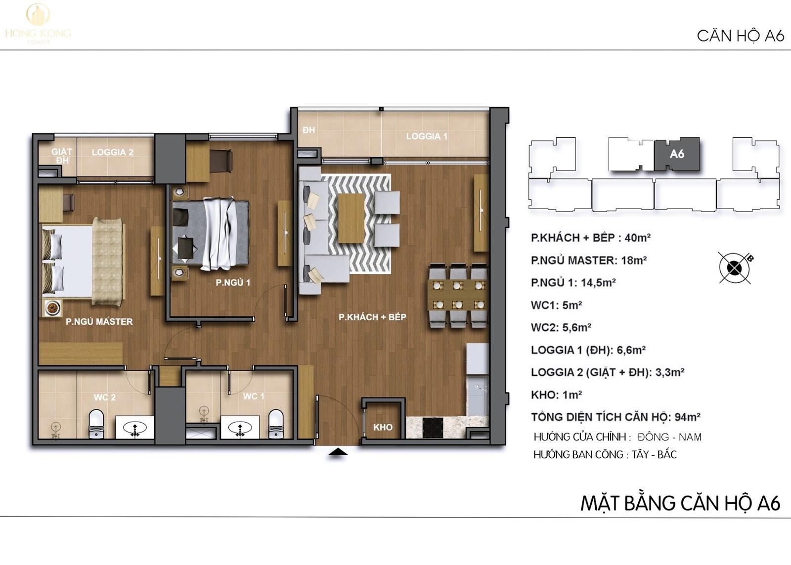 Chi tiết căn hộ A6 chung cư 243A Đê La Thành