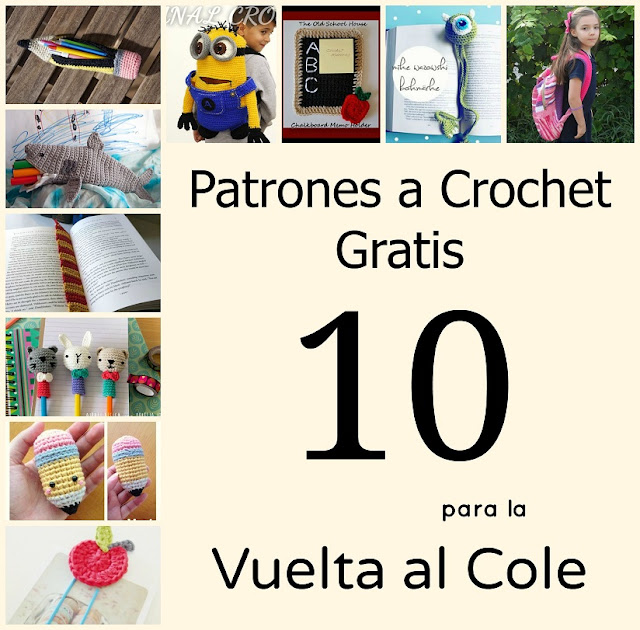 crochet free pattern back to school patrones gratis ganchillo vuelta al cole mochila bag estuche pencil case bookmark marca paginas