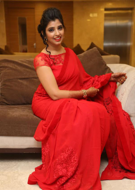 Anchor Syamala in Red Saree