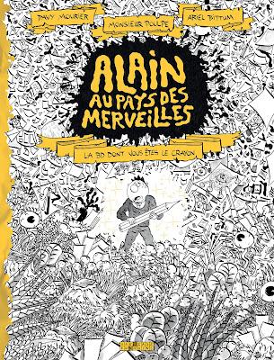"""couverture de """"Alain au pays des merveilles"""" par Davy Mourier, Monsieur Poulpe et Ariel Bittum chez Delcourt"""