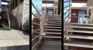 ゼブラカフェ横浜のエントランスへの階段。愛車、cannondale synapseを担いで登る