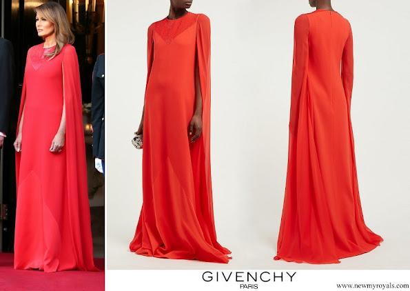 Melania Trump wore GIVENCHY Sequinned cape sleeve wool crepe gown