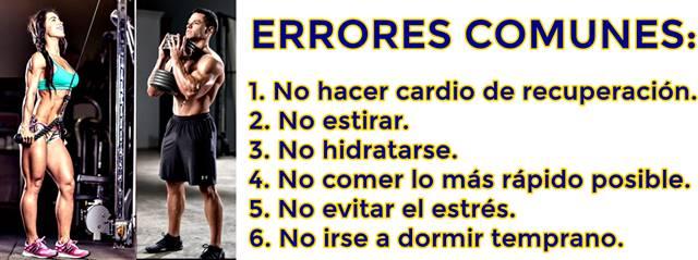 Errores comunes que la gente comete al terminar de hacer ejercicio