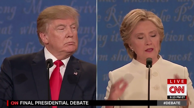 Donald Trump squinting at Hillary Clinton talking about dozens of toddlers killing people with guns
