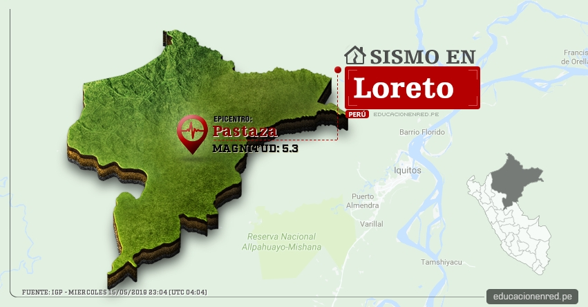 Temblor en Loreto de Magnitud 5.3 (Hoy Miércoles 15 Mayo 2019) Sismo Epicentro Pastaza - Alto Amazonas - IGP - www.igp.gob.pe