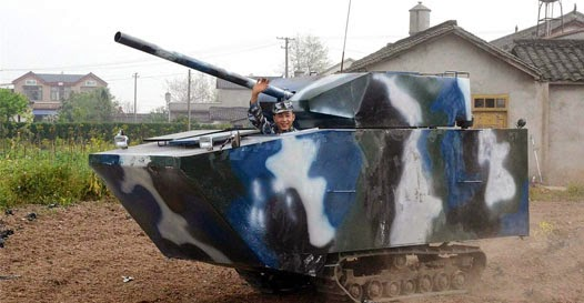 Fazendeiro chinês construiu seu próprio tanque de guerra